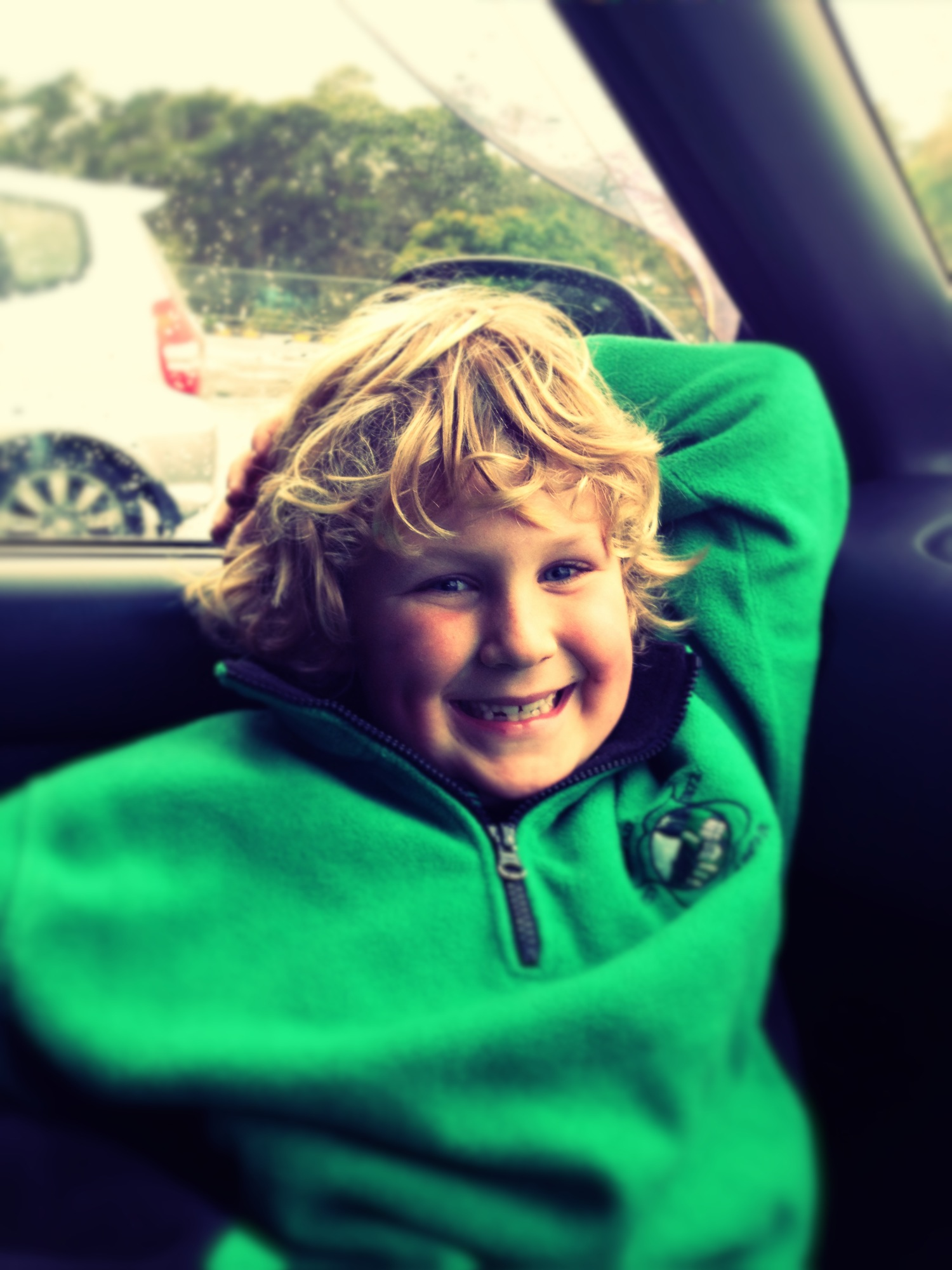 Learning spelling words in the car before swimming